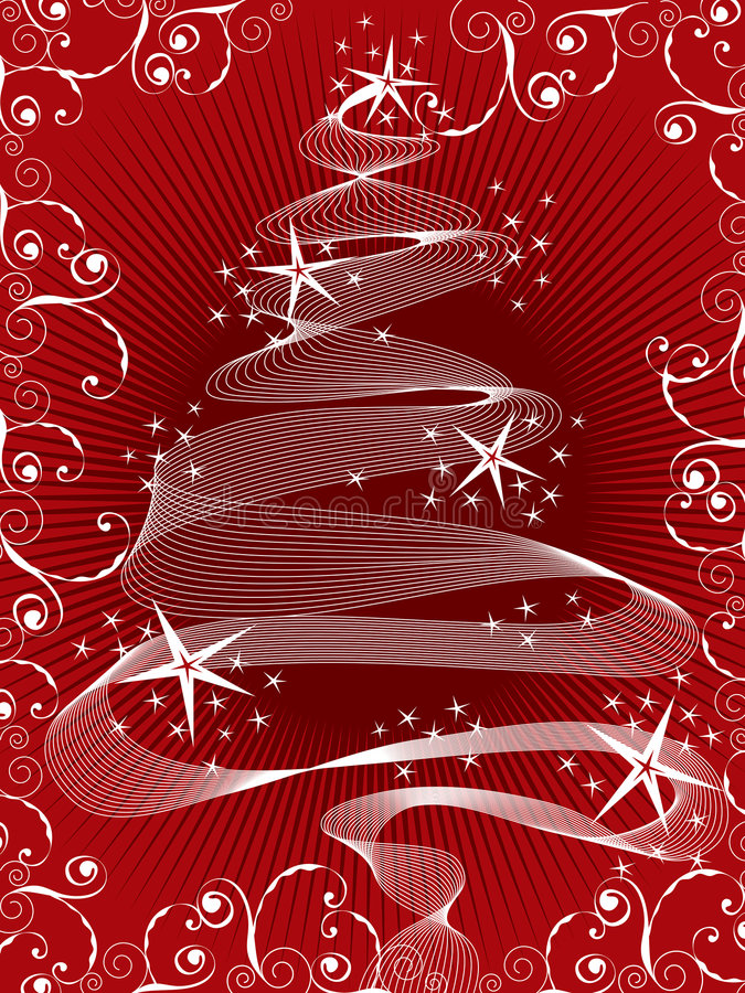 Sparkling red christmas tree royalty free stock image