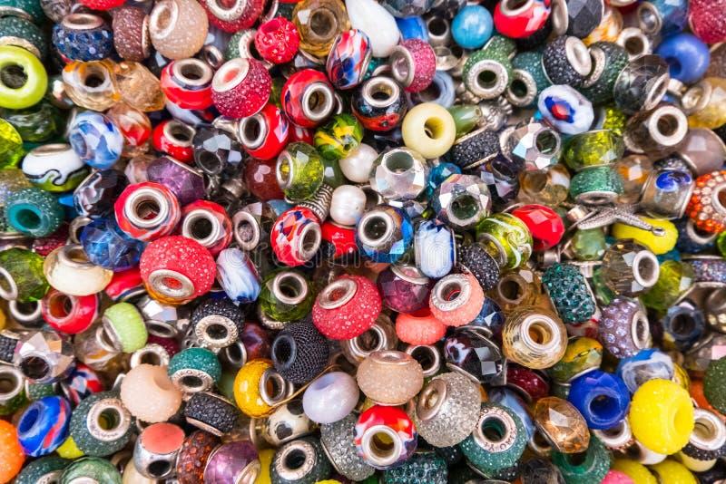Sparkling rings of jewelery beads stock image