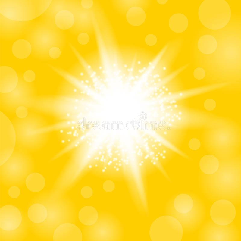 Sparkling Star, Glowing Light Explosion. Starburst with Sparkles on Yellow Background royalty free illustration