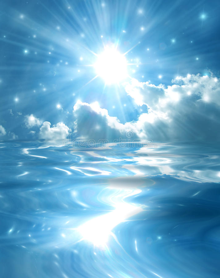 Free Sparkling Star Over Blue Lake Stock Images - 11792844