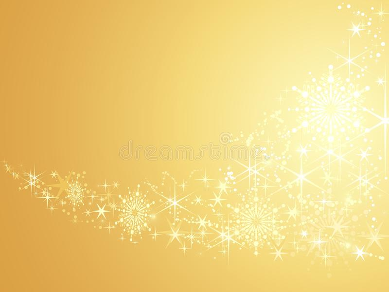 Sparkling stars on golden abstract background stock illustration