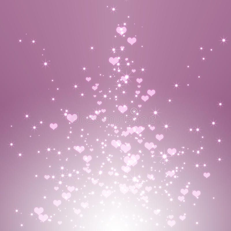 Sparkling stars hearts on purple light burst. Background