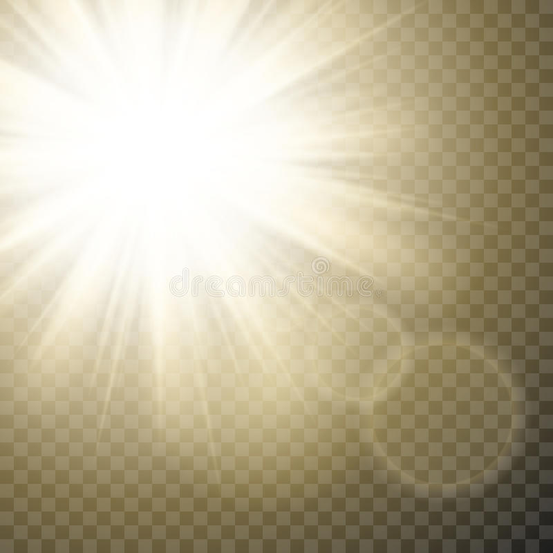 Sparkling sun rays with hot spot and flares with sun flare effect on transparent background . royalty free illustration