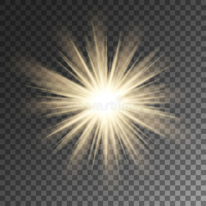 Sparkling sun rays star flare. Sparkle on vector background. royalty free illustration