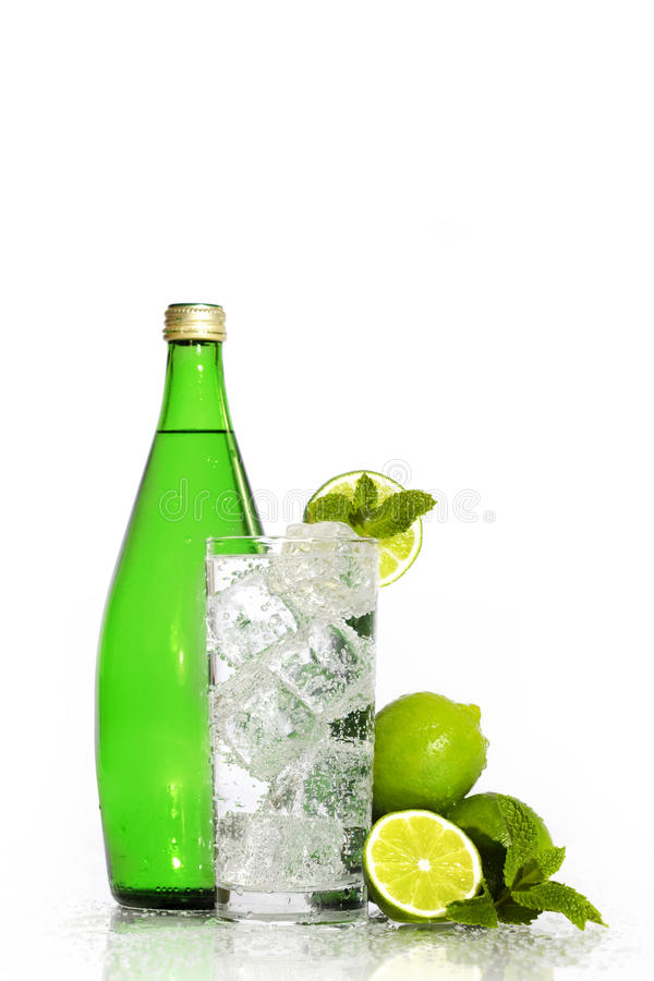 Sparkling Water in Glass stock photo