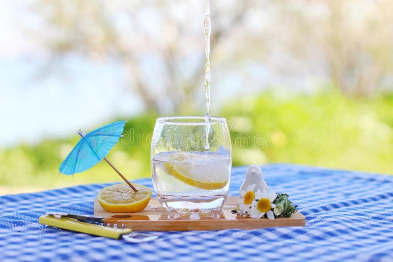 Sparkling water and lemons. Sparkling  water lemons concept blue blur nature fresh summer mood happiness peace cold drink spring forest picnic timr time stock image
