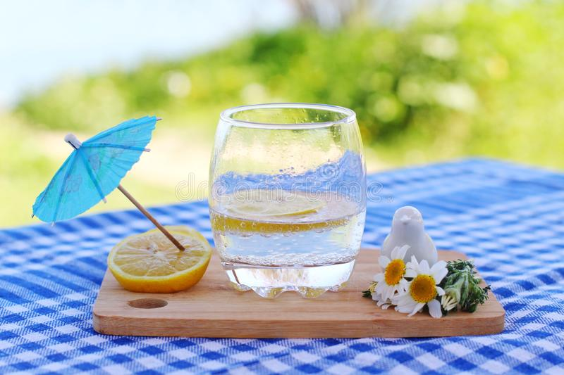 Sparkling water and lemons. Sparkling  water lemons concept blue blur nature fresh summer mood happiness peace cold drink spring forest picnic timr time royalty free stock photos