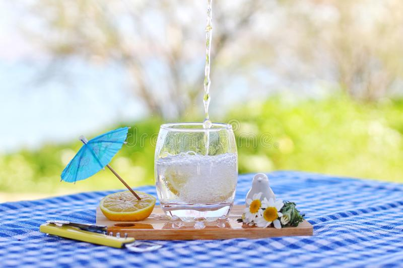 Sparkling water and lemons royalty free stock photography