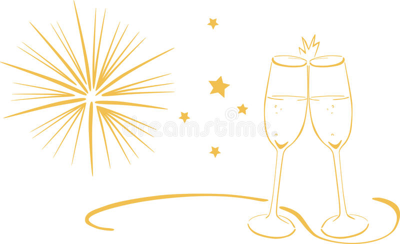 Sparkling wine glasses - New Years Eve vector illustration