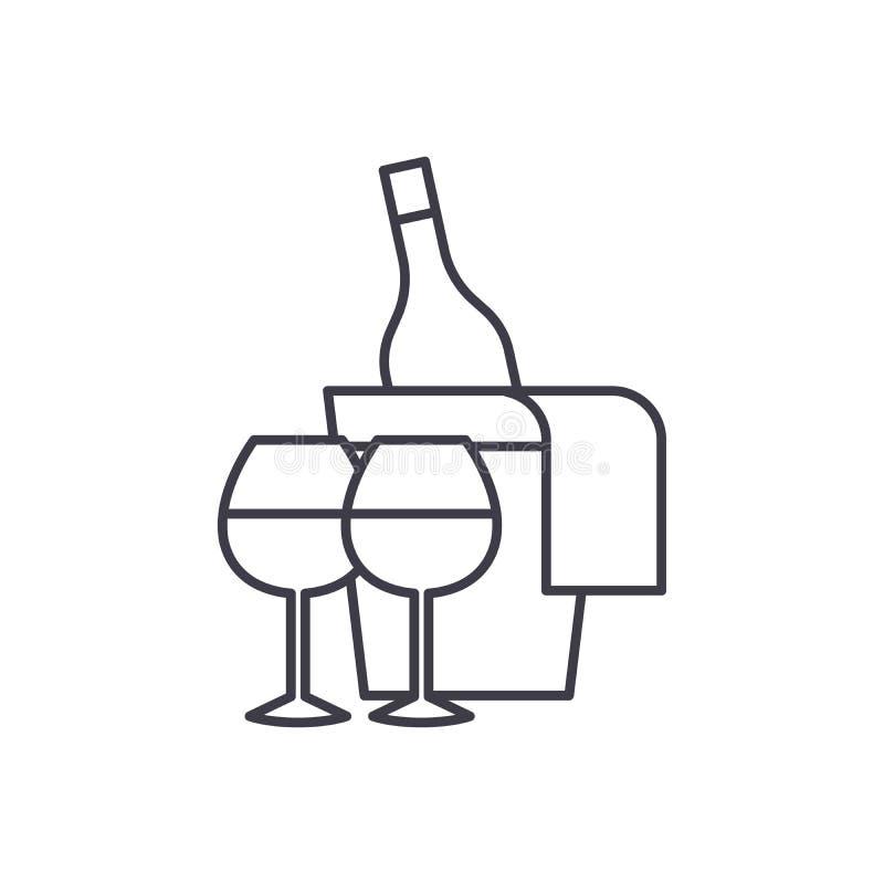 Sparkling wine line icon concept. Sparkling wine vector linear illustration, symbol, sign stock illustration