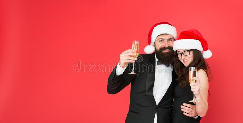Sparkling wine. Office party. Visiting event party ceremony. Couple ready corporate party. Happy new year. Bearded stock image