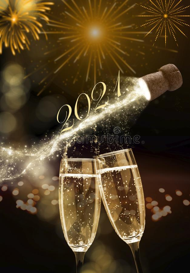 Free Sparkling Wine On New Year`s Eve, New Year 2021 Royalty Free Stock Photography - 166466807