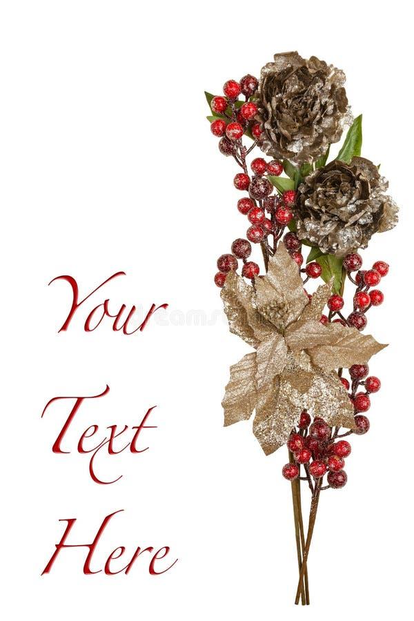Sparkly певтер цветет глянцеватые красные ягоды и листовые золота стоковая фотография