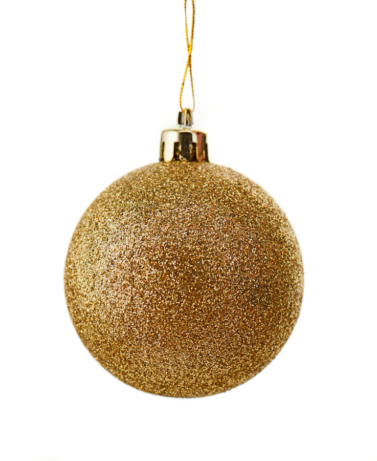 Sparkly christmas ball covered with gold glitter isolated on white royalty free stock photo