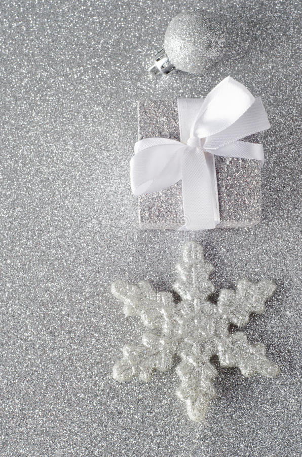 Download Sparkly Silver Christmas Decorations Stock Image - Image of overhead, space: 27445981