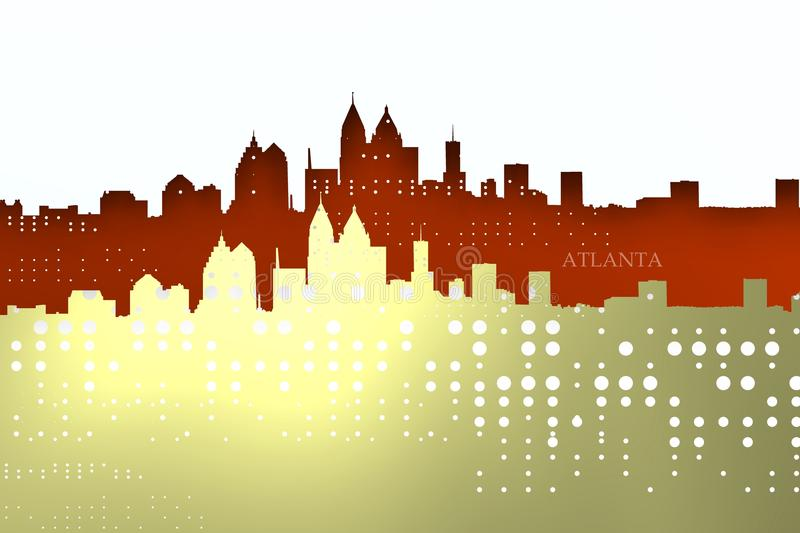 Sparkly and tech Atlanta skyline. royalty free illustration
