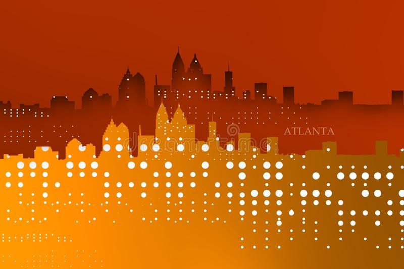 Sparkly and tech Yellowish Atlanta skyline. vector illustration