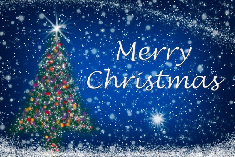 Sparkly Tree för glad jul på den Starry skyen arkivfoto