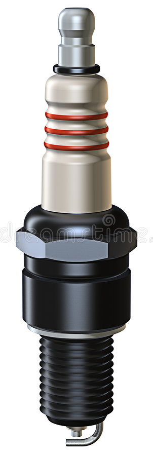 Sparkplug. 3D rendered image of sparkplug, isolated on white background