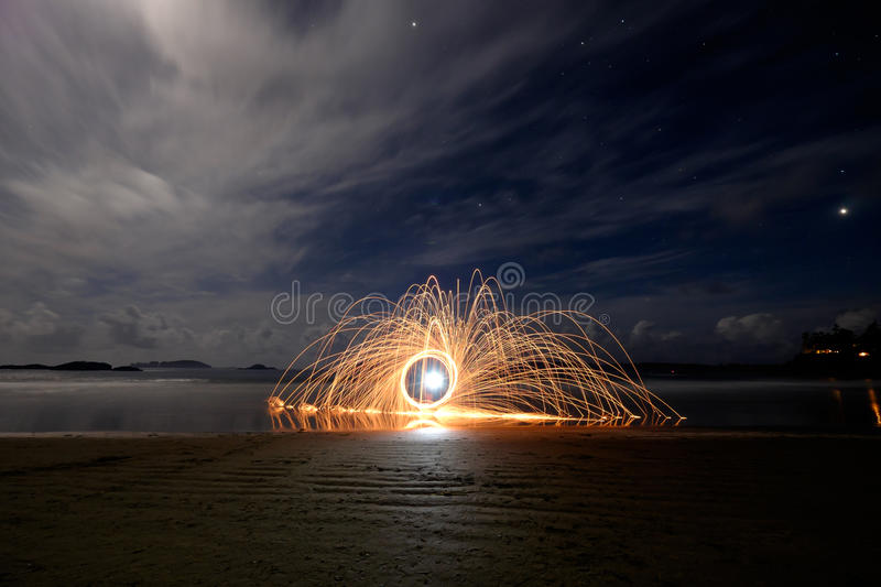 Sparks on the beach royalty free stock image