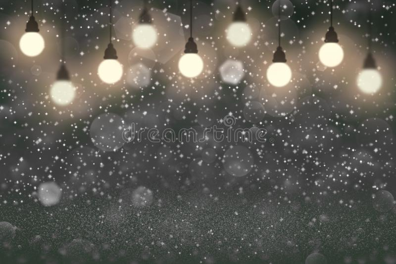 Sparks beautiful shining glitter lights defocused light bulbs bokeh abstract background with sparks fly, festival mockup texture. Sparks fantastic shining stock image