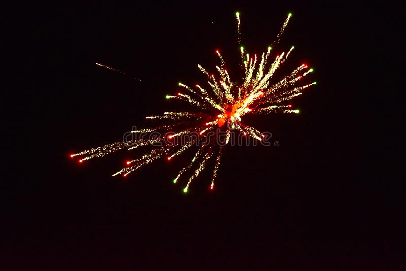 Sparks of Fireworks in the dark sky royalty free stock photography