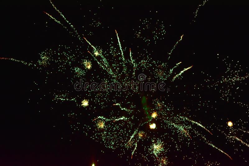 Sparks of Fireworks in the dark sky royalty free stock images
