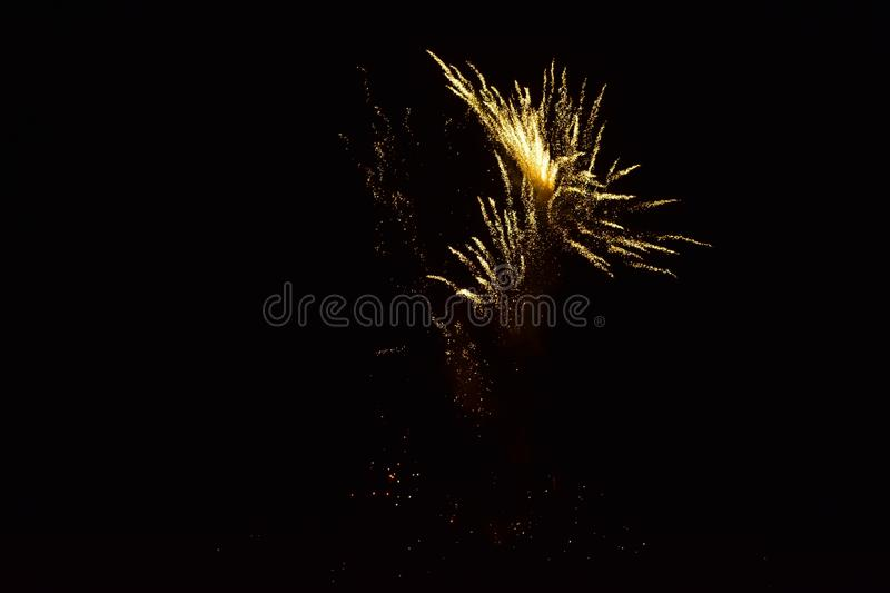 Sparks of Fireworks in the dark sky stock photography