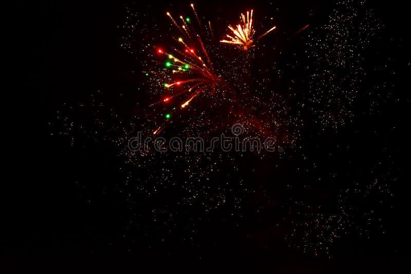 Sparks of Fireworks in the dark sky stock image