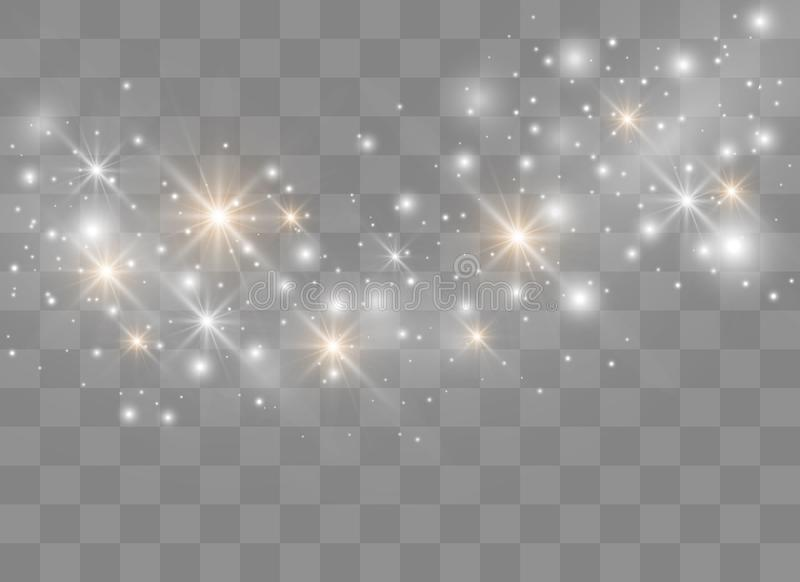 Sparks glitter special light effect. Vector sparkles on transparent background. Christmas abstract pattern. Sparkling magic dust p. Articles vector illustration