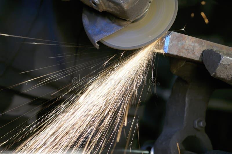 Sparks from a grinder.