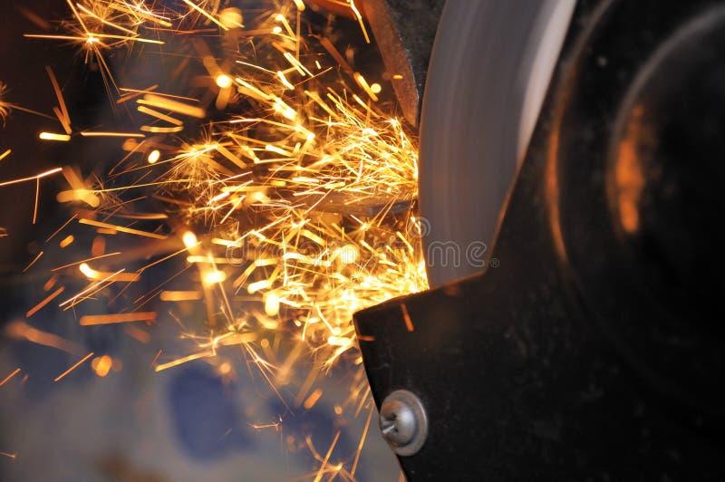 Sparks from Grinder stock images