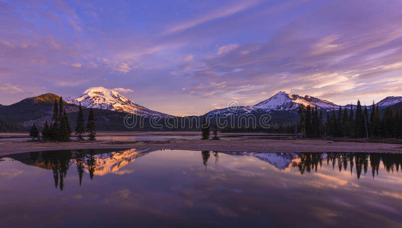 Sparks Lake at Sunrise, Central Oregon. stock photography