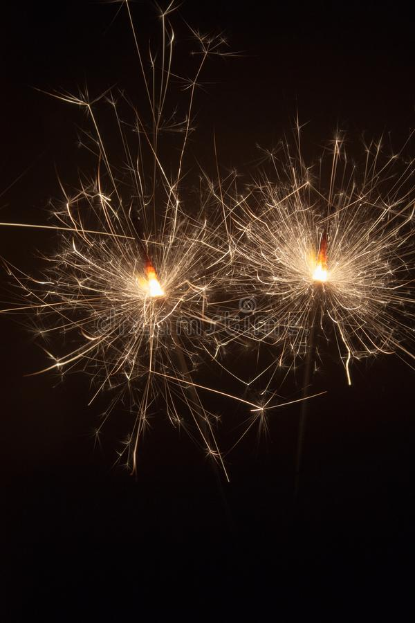 Sparks in the night stock images