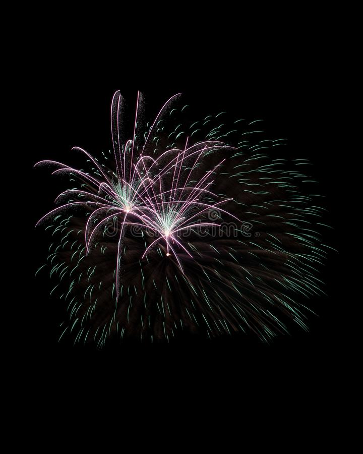 Sparks of firework explosion isolated on black royalty free stock photo