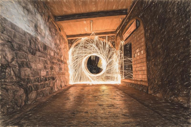 Sparks in Tunnel during Daytime in Time Lapse Photography royalty free stock photos