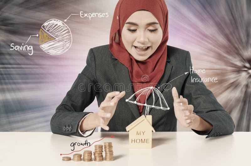 Sparpläne für Traumhaus und Finanzkonzept, stockbild
