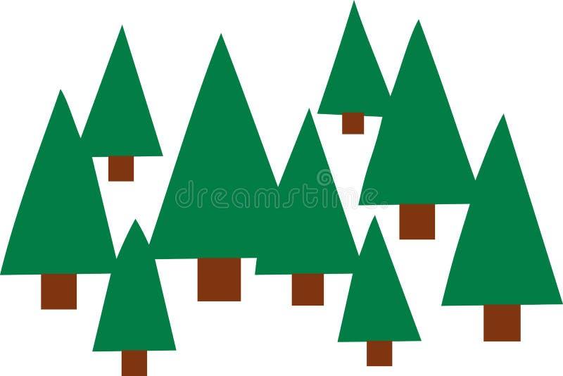 Sparren bospictogrammen stock illustratie