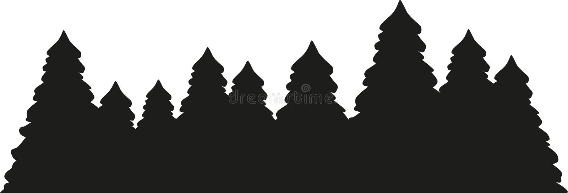 Sparren bossilhouet stock illustratie