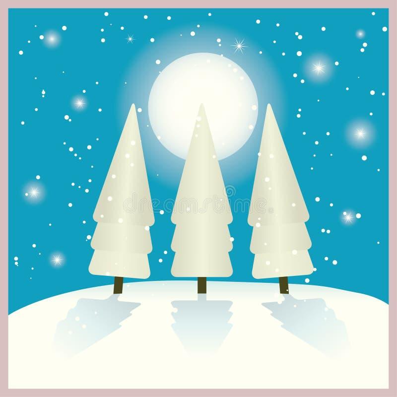 Sparren in de winternacht vector illustratie
