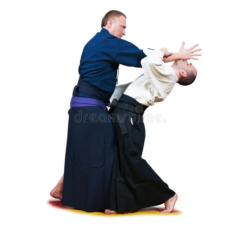Sparring von zwei Jujitsukämpfern stockfotos