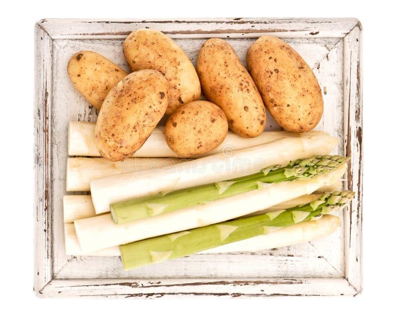 Sparris och nya unga rå potatisar royaltyfri bild
