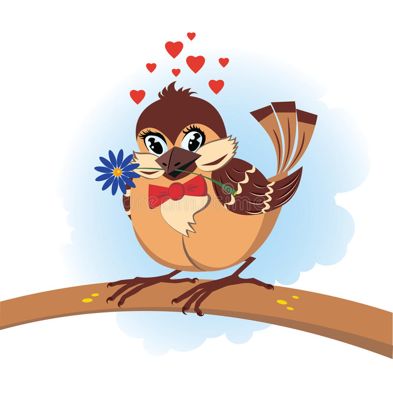 Download Sparrow in love stock vector. Illustration of heart, flower - 12325988