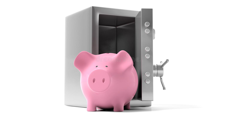 Sparschwein in einer Sicherheitswölbung mit offener Tür auf einem weißen Hintergrund Abbildung 3D vektor abbildung