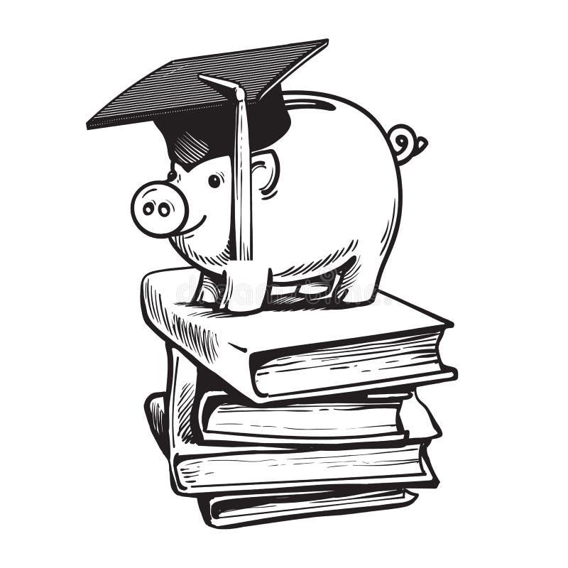 Sparschwein im Staffelungshut auf Stapel Büchern Einsparungsplan für Bildung, Studentendarlehen, Konzept der wirtschaftlichen Hil stock abbildung