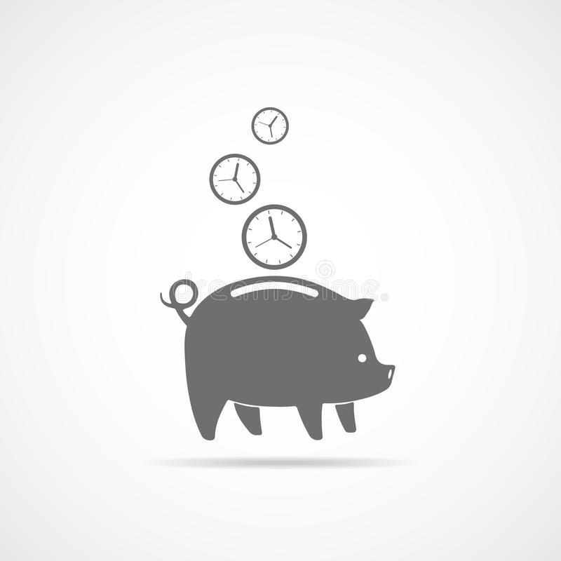 Sparschwein mit fallenden Uhren Auch im corel abgehobenen Betrag stock abbildung