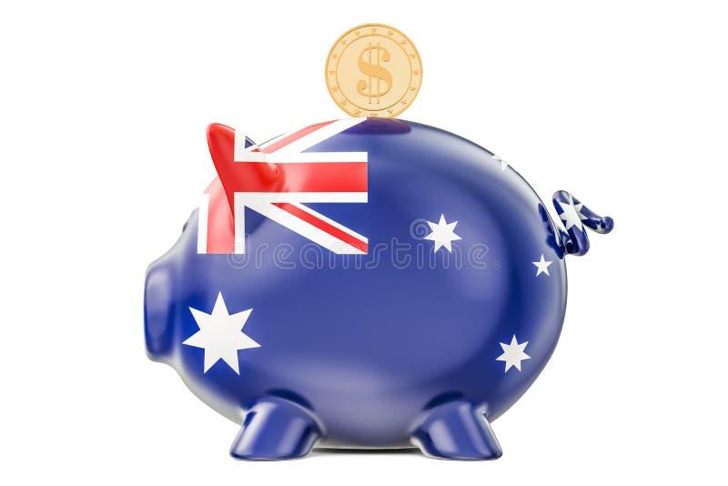 Sparschwein mit Flagge von Australien und goldener Dollar prägen invest lizenzfreie abbildung