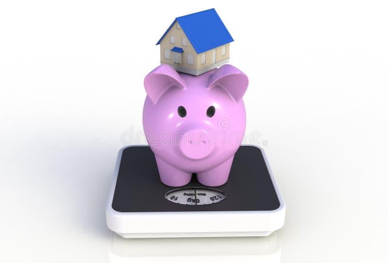 Sparschwein mit Haus auf einer wiegenden Skala lokalisiert auf weißem Hintergrund lizenzfreie abbildung
