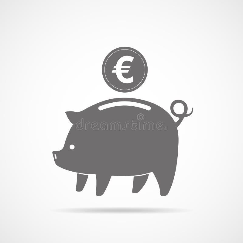 Sparschwein mit Münze Auch im corel abgehobenen Betrag stock abbildung
