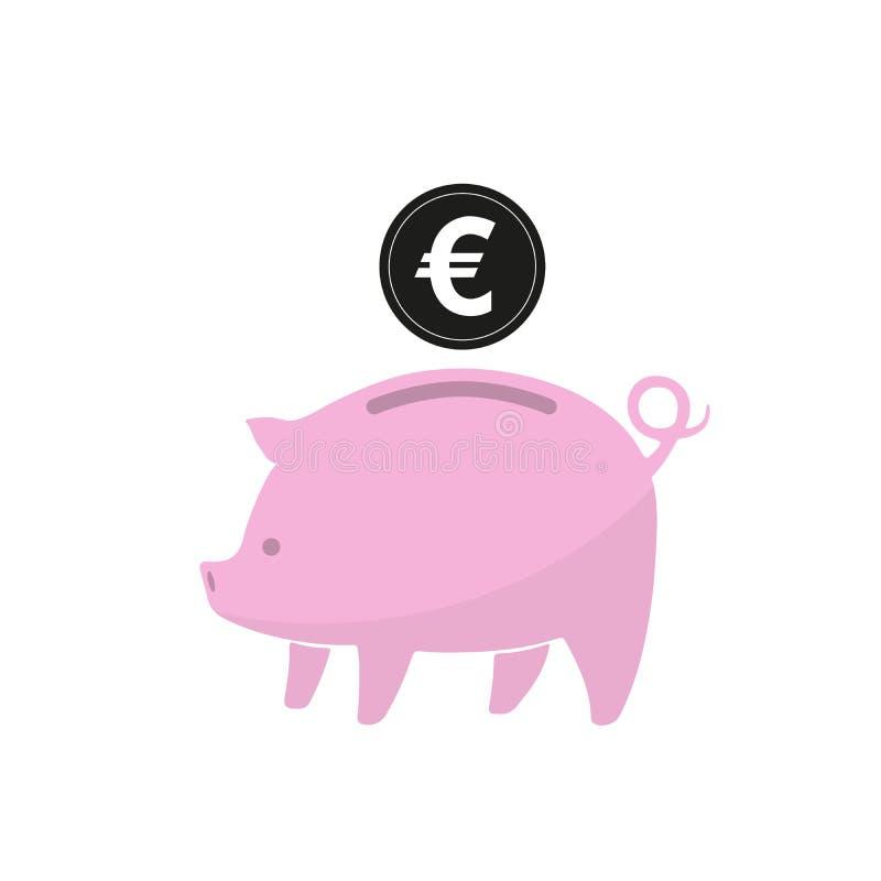 Sparschwein mit Münze Auch im corel abgehobenen Betrag lizenzfreie abbildung